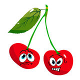 Two evil cherries on a branch, cartoon caricature on a white background. Vector Royalty Free Stock Photography