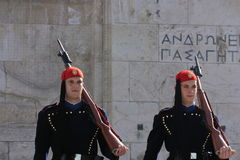 Two evzones in syntagma square,greece. The ceremony in syntagma square royalty free stock image