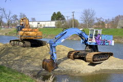 Two excavator Stock Photos
