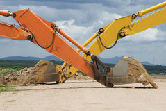 Two excavator scoops Royalty Free Stock Images