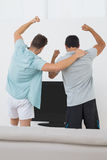 Two excited soccer fans watching tv. Rear view of two excited soccer fans watching tv Royalty Free Stock Photography