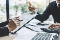 Two executive discussing company growth project success financial statistics, Partner meeting professional investor working start. Up project for both company royalty free stock photography