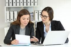 Two executives working together at workplace. Two executives working together talking about documents at workplace Stock Photography