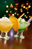 Two exotic cocktails in bar stock photos