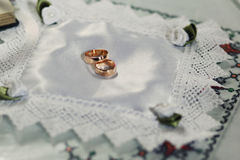 Two expensive golden  wedding rings Stock Photo