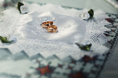 Two expensive golden  wedding rings Stock Images
