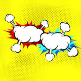 Two explosion cloud collision retro background Stock Photos