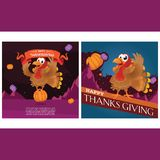 Turkey Character Design Pose With Ribbon Banner In Greeting Card Design vector illustration