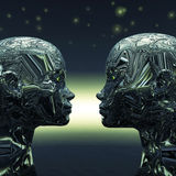 Two Extra Terrestrial. Looking into each others eyes Royalty Free Stock Photography
