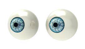 Two eyeballs isolated on white Royalty Free Stock Photos