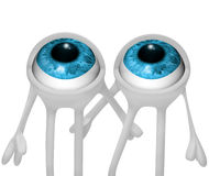 Two eyes. 3d image of eyes looking up royalty free illustration
