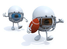 Two eyes playing rugby. Two big eyes with arms, legs, helmet and rugby ball, 3d illustration Stock Images