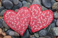 Two fabric hearts Stock Photo