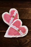 Two fabric hearts for valentines Royalty Free Stock Images