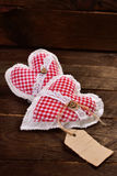 Two fabric hearts for valentines Stock Photos