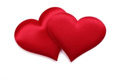 Two fabric textured heart Stock Image
