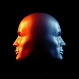Two-faced головная статуя пожара и льда Стоковое Изображение RF
