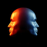 Two-faced Head Fire And Ice Statue Royalty Free Stock Image