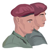 Two faces. Of man - a soldiers royalty free illustration
