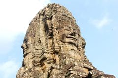Two faces Bayon temple blue sky, Angkor Thom, Cambodia Stock Image