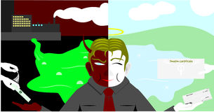 Two faces of business man. Vector with background Royalty Free Stock Images