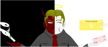 Two faces of business man. Vector with background Stock Photo