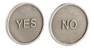 Two faces of a coin. Yes and no stock photos