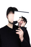 Two faces despair. Symbolic image of a man holding his face showing changes according to the mood and situation of what seems to be affordable to match the Stock Images