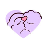 Two faces kissing. Kissing couple.Man and woman faces with abstract heart Stock Images