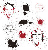 Two faces and spots. Man's and women's faces in ink,blood spots Stock Photo
