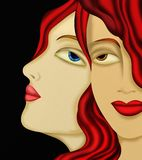 Two faces of woman with red hair Royalty Free Stock Photos