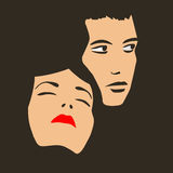 Two faces. Of young man and woman on dark background Stock Illustration