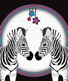 Two facing zebras against spotted neon film background Royalty Free Stock Photo