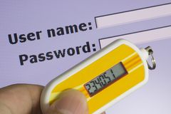 Two Factor Authentication. Screen requesting password and security token depicting Two Factor Authentication Royalty Free Stock Photography