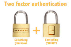 Two factor authentication padlocks concept know and have. Two factor authentication concept with two padlocks isolated on white and the phrase something you know Royalty Free Stock Images