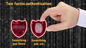 Two factor authentication shields concept are and know Royalty Free Stock Photography