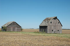 Two Faded Barns In Nebraska Stock Photos