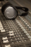Two faders of old dirty sound mixer in focus Stock Image