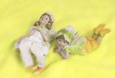 Two fairies lying and dreaming royalty free stock image
