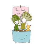 Two fairies succulent, cat and pot. Stock Images