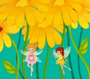 Two fairies under the flowers Stock Photos