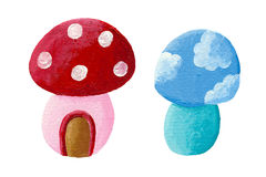 Two fairy tales mushrooms Royalty Free Stock Images