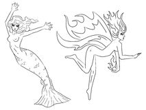 Two fairy women. A pair of black and white mythical creatures in tattoo style Stock Images