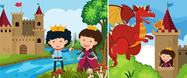 Two fairytale scenes with princess in the tower Stock Photos