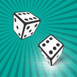 Two falling dice. Vector illustration. royalty free illustration