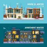 Two family house and apartment banners. Two family house and apartment banners in winter Stock Image