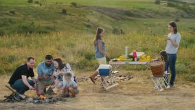 Two family of six people at a picnic. Children with their parents around the campfire roasting sausages and bacon on skewers. Two family of six people at a stock video