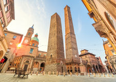 Two famous falling towers of Bologna. Two famous falling towers Asinelli and Garisenda in the morning, Bologna, Emilia-Romagna, Italy Royalty Free Stock Photography