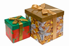 Two fancy boxes with Golden ribbon bow Royalty Free Stock Photos