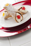 Two Fancy Cannoli on Plate Royalty Free Stock Photography